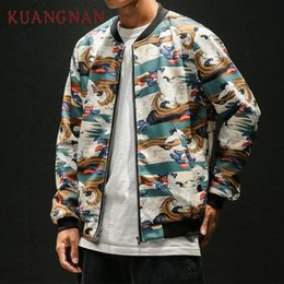 Draped Jacket Australia - KUANGNAN Japanese Crane Printed Jacket Men Fashions Hip Hop Streetwear Bomber Jacket Men Coat Men Jacket Coat 5XL 2018 Autumn D19010501