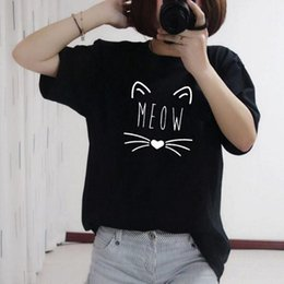 meow shirt NZ - 2019 New T-shirt Women Meow Printed Black White Grey Cat Hip Hop Cartoon TShirts Summer Tops Tees Fashion Woman Shirts