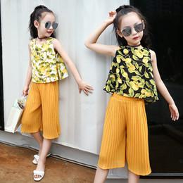 84bce400de7 Дети девушки комплект одежды для 9 10 11 12 лет рукавов печати шифон топы  тис + Брюки 2 шт. дети летняя одежда костюм 12C5A