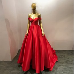 up skirt train images Australia - Off-the-shoulder Cap Sleeve Satin Red Long Prom Dresses Pleated Skirt Party Dress Stores Lace Up Back Ladies Formal Dresses Sweep Train