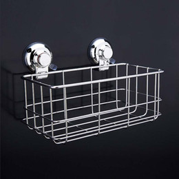 wall spice racks NZ - 304 Stainless Steel Strong Suction Shower Basket Dual Sucker Bathroom Shelf Washing Room Kitchen Corner Basket Wall Mounted Rack