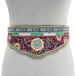 Luxury Chains Australia - Luxury Ethnic Bohemian Wedding Belt Strap Gypsy Resin Bead Flower Leather Women Belt Bridal Sash Belly Waist Body Chains Jewelry