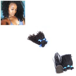 $enCountryForm.capitalKeyWord UK - 8A Brazilian Afro Kinky Curly Hair Bundles Virgin Unprocessed Extensions Full Cuticle Can be Dyed 3 Bundles With 1 Closure Machine Weft