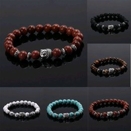 $enCountryForm.capitalKeyWord NZ - New Fashion Mens Bead Natural Stone Jewelry Cheap Anchor Beaded Buddha Bracelets For Men Women Buddha Lava Chakra Bracelet