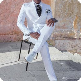 $enCountryForm.capitalKeyWord NZ - Custom Made White Men Suits for Wedding Groom Tuxedo Peaked Lapel Double Breasted Man Blazer 2Piece Slim Fit Terno Masculino Costume Homme