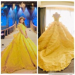 Bright sky Blue dress online shopping - Gorgeoues Bright Yellow Quinceanera Dresses Capped Sleeves with D Floral Applique Sweep Train Custom Made Sweet Party Ball Gown