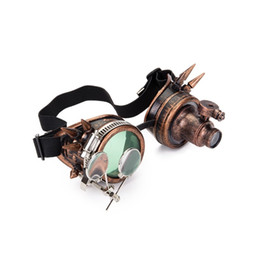 steampunk lights UK - Halloween Steampunk Rock Goggles Welding Glasses with Two Colors Lens and One Light Punk Gothic Cosplay Party Glass Eyewear Y200619