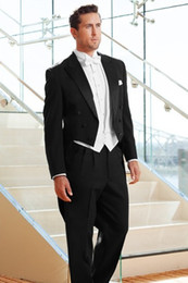 white tailcoat style groom tuxedos NZ - Tailcoat Morning Style Groomsmen Peak Lapel Groom Tuxedos Men Suits Wedding Prom Dinner Best Man Blazer ( Jacket+Pants+Tie+Vest)G101