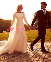 Großhandel 2019 A-Line Bateau Neck Brautkleider bodenlangen Schulterfrei Braut Royal Style Brautkleid nach Maß