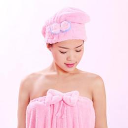 $enCountryForm.capitalKeyWord Australia - Cute Bow Makeup Towel Coral Fleece Bath Hat Magic Hair Dry Drying Turban Wrap Towel Hat Water Absorption Quick Dry Bath Cap BC BH1053