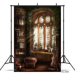 vintage photography backdrops Australia - Vintage Arch Window Bookshelf Violin Flower Wall Photo Backdrop Vinyl Background Studio for Children Baby Photography Photophone
