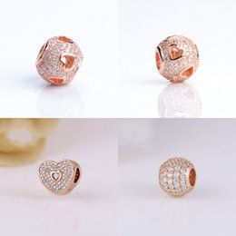 $enCountryForm.capitalKeyWord NZ - Original 925 Sterling Silver Bead Love pendant Charm With Rose Gold Plated & Clear Cubic Zircon Fit Pandora Bracelet Top Quality