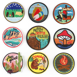 ironing sticker clothes Australia - Camping Bear Protect Wildlife Round Embroidered Patch Iron On Patch Sewing Applique Clothes Patch Stickers Apparel Accessories