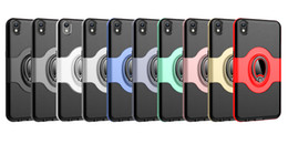 huawei cars NZ - Magnetic Ring Stand Car Holder Back Cover PC+TPU Metal Drop-Proof Shockproof Cases For Iphone X Xs Xr Samsung S10plus Huawei Mate20 P30 Vivo