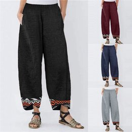 Wholesale women linen pants for sale – dress Designer Womens Relaxed Pants Mid Waist Geometric Print Elastic Waist Loose Pants Spring Summer Fashion Women Pants
