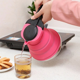 Outdoor Folding Teapots Camping Picnic Hiking Cookware Heat-resistant Water Bottle Foldable Protable Kettle 3 Color HHA1088 on Sale