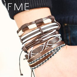 mothers charm chain Australia - IF ME Fashion Multiple Layers Punk Leather Bracelets Men Popular Rope Chain Charms Leather Bracelet For Men Jewelry Gifts