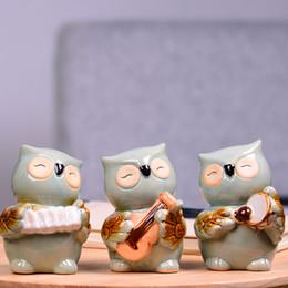 $enCountryForm.capitalKeyWord Australia - 3pcs lot European Ceramic Crafts Owl Piggy Bank Home Decor Cute Owl Bank Ornaments Creative Owl Money Box