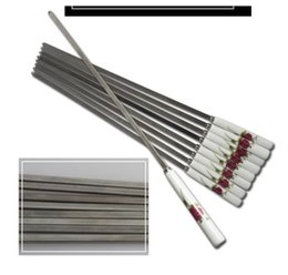 stainless steel flat grill NZ - Supper quality Outdoor BBQ Grill skewer Barbecue Fork Barbecue Stainless Steel BBQ skewers,Stainl Eco-friendly ceramic Handle 10Pcs of a set