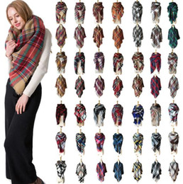 Tartan Scarfs Australia - Winter Neckerchief Plaid Scarves Grid Tassel Wrap Oversized Check Shawl Tartan Cashmere Scarf Winter Neckerchief Lattice Blankets Fashion