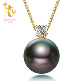 gold parties NZ - Nymph 18k Gold Necklace Pendant Pearl Jewerly Natural Black Tahitian Pearl Fine Jewelry Anniversary Party For Women [dz1012] Y19052301