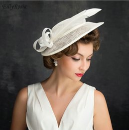 62f6e1b76c37d Elegant Women's Hat For Wedding Party Feathers Flax Vintage Bridal Hats for Church  Evening Sinamay Hats Fascinators cappello matrimonio