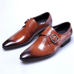 $enCountryForm.capitalKeyWord Canada - British Luxury Men Brown Monk Shoes Pointed Toe Buckle Genuine Leather Business Leisure Dress Shoes Man Office Career Party Shoe