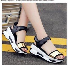 $enCountryForm.capitalKeyWord Australia - Summer Women Open Toe Sandals High quality mirror super fiber Wedge Casual Platform Sandalias ladies gladiator sandals