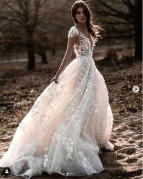 $enCountryForm.capitalKeyWord Australia - Masterpiece Bohemian 3D Floral Wedding Dresses 2020 Cap Sleeve Lace V-neck Puffy Skirt Country Garden Wedding Bridal Gown