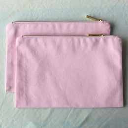 $enCountryForm.capitalKeyWord NZ - Light pink toiletry bag plain cotton cosmetic bag canvas zipper pouch blank essential pouch DIY crafting blanks