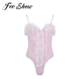 rompers catsuit jumpsuits NZ - Sexy Male Erotic Lingerie Bodysuit Men Sissy High Cut Thong Bodycon Rompers Ruffle Lace Jumpsuit Teddy Catsuit Swimsuit Costume