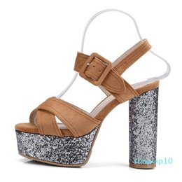 Sexy2019 High Coarse 19 With Waterproof Platform Sandals 40-42 Code Trend Women's Shoes Wis
