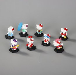 Birthday Cake Decorations Cars Australia - Hello kitty action figures for kids 8 styles pvc Gashapon doll toys mini sightseeing car decorations cake decorations children birthday gift