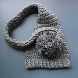 Handmade Kids Summer Hats Australia - Crochet Baby Elf Hat,Handmade Baby Boy Girl Grey Stocking Hat with Pom Pom,Kids Spring Winter Beanie,Infant Newborn Photo Prop