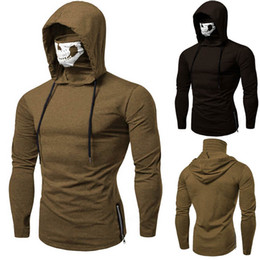 Wholesale hoodies masks for sale – custom Feitong Hooded Sweatshirt Winter Men s Mask Skull Pure Color Pullover Tops Long Sleeve Hoodies Sweatshirt Tops Moletom