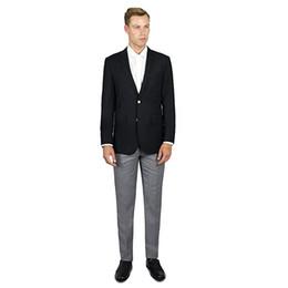 Light Grey Color UK - Custom Blac Jacket Light Grey Pants Groomsman Men Suits Two Button 2-Piece Slim Fit Men Blazer Groom Tuxedos (Jacket+Pants) H512