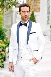 $enCountryForm.capitalKeyWord Australia - Brand New Groomsmen White Groom Tuxedos Shawl Navy Blue Lapel Men Suits Wedding Best Man Blazer ( Jacket+Pants+Vest +Tie)