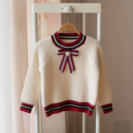 $enCountryForm.capitalKeyWord NZ - Autumn Winter bows girls sweater pearl baby sweater girl clothes kids designer clothes girls Pullover Sweaters A7180