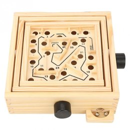 children wood toys NZ - Wooden 3D Puzzle Labyrinth Toys Maze Board Games Toys With Steel Beads New Development Educational Puzzles Toys For Children Kid