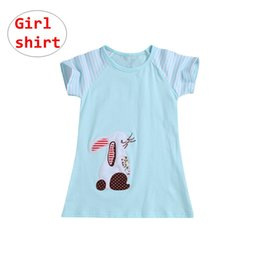 Tops Girl Shirt Design Australia - Kids Blue Rabbit Design Shirt Baby Girl Cartoon Animal Tops Summer Short Sleeve Pullover Clothes for 1-7T