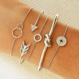 Jewelry Mosaic Sets Australia - 5 Pcs  Set Women Personality Mosaic Crystal Compass Arrow Knot Round Chain Opening Bracelet Set Exquisite Shiny Party Jewelry
