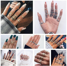 wholesale vintage style crystal rings UK - 10 styles Bohemian Vintage Gold Crescent Geometric Joint Ring Set for Women Crystal Personality Design Ring Set Party Jewelry Gift 01 ALXY02