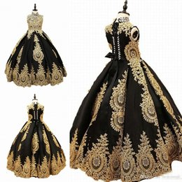 $enCountryForm.capitalKeyWord Australia - High Collar Golden Appliques Girls Pageant Dresses Black Tulle Flower Girl Dress For Wedding Girl's Floor Length Child Party Birthday Dress