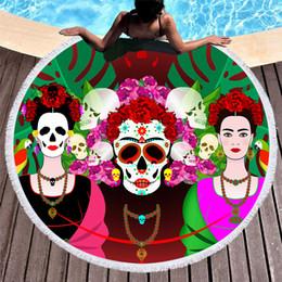 $enCountryForm.capitalKeyWord NZ - 1 Pcs Skull Flower Printed Thick Terry Boho Bohemian Day Of Dead Round Beach Towel Microfiber Beach Towels Large Serviette De Plage