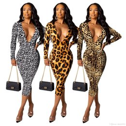 Wholesale full length leopard print dress for sale – plus size HISIMPLE New Sexy Leopard Color Fashion Dress Popular Hot Casual Office Tide V Neck Full Sleeve Women Thin Mini Dress