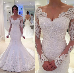 See Through Wedding Dress Crystal Beading Australia - 2019 Gorgeous Backless Off Shoulder See Through Crystal Princess Beading Lace Trumpet Bridal Gown Long Sleeve Party Wedding Dress Appliques