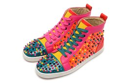 $enCountryForm.capitalKeyWord Canada - Original Box Red Sneakers For Men Women Red Spike Shoes Fashion Luxury Designer Shoes High Top Leather Wedding Party Shoes 6GS
