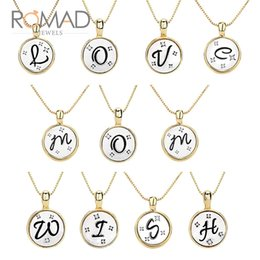initial disc pendant necklace Australia - Romad 26 Letter Layered Letter Necklace String Jewelry Disc Pendant Necklace For Women's Initial A to Z