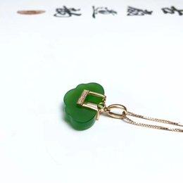 Bare Chain Australia - 18K gold Jasper Ruyi lock pendant, heavy gold model, bare stone 18 * 12mm, send silver chain, certificate, gift box!