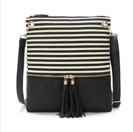 $enCountryForm.capitalKeyWord Australia - 8 Color Fashion Canvas Handbag Tassel Stripe Designer Double Zipper Tote Bag Cross Body Bag Women Messenger Shoulder Bag